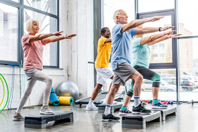 Group of seniors exercising together